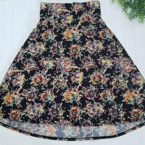 Black Floral LuLaRoe Azure Midi Length Skirt Sm